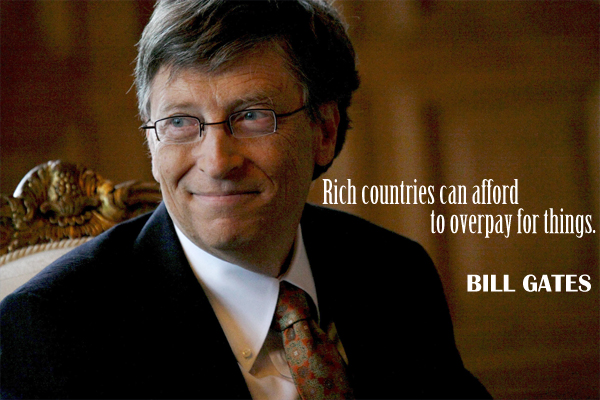 Rich countries can afford to overpay things.