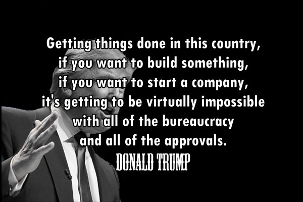 Getting things done in this country, if you want to build something, if you want to start a company, it's getting to be virtually impossible with all of the bureaucracy and all of the approvals.