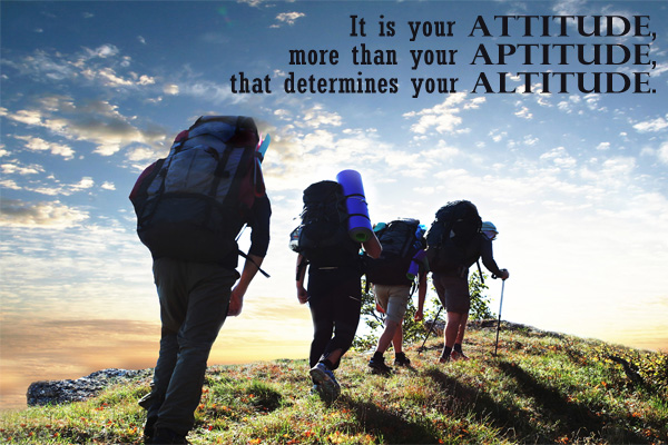 It is your Attitude, more than your Aptitude, that determines you Altitude.