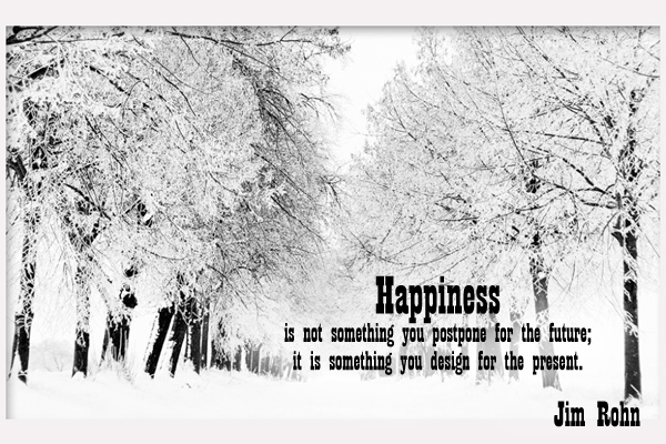 Happiness is not something you postpone for the future; is is something you design for the present.