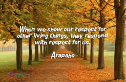 When we show our respect for other living things, they respond with respect for us