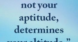 """Your attitude not your aptitude will determine your altitude"""